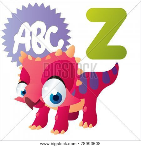 Z is for vector cute cartoon isolated Zuniceratops