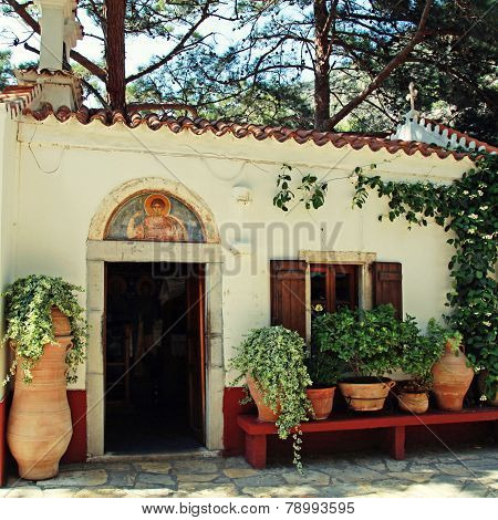 Beautiful Small Greek Chapel With Flower Pots (Crete, Greece)