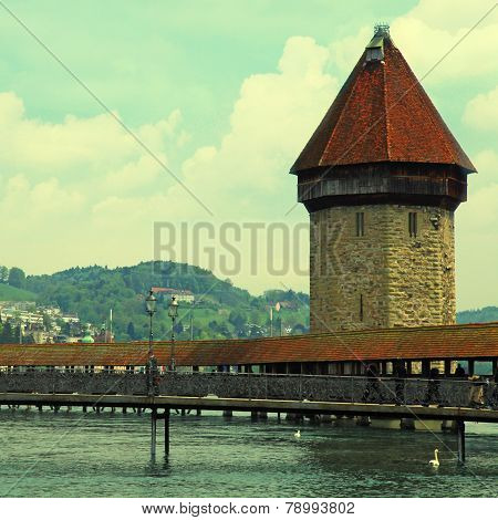 Chapel Bridge In Lucerne(Switzerland)