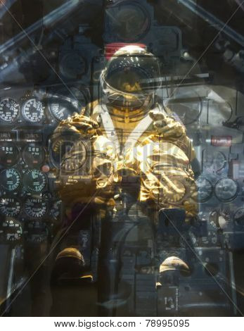 Test Pilot Through Instrument Panel