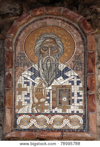 BUDVA, MONTENEGRO - JUNE 09, 2012: Icon-Mosaic, St. Peter of Cetinje, on the wall in Budva, Montenegro, on June 09, 2012
