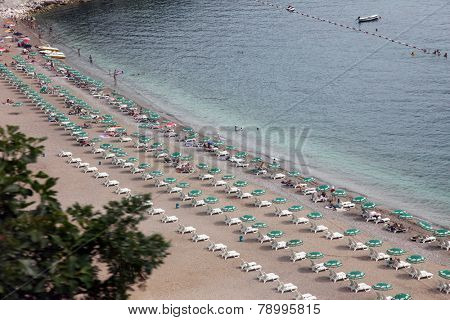BUDVA, MONTENEGRO - JUNE 09, 2012: Beach in Budva, Montenegro, on June 09, 2012.