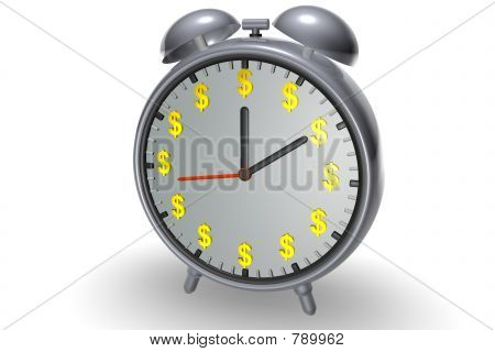 Alarm clock with dollar symbols