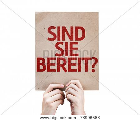 Are You Ready (in German) card isolated on white background
