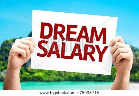 Dream Salary card with a beach on background