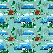picture of christmas theme  - Landscape of Christmas theme in map style seamless pattern - JPG