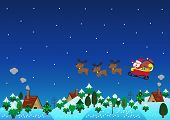 stock photo of christmas theme  - Christmas theme santa claus with reindeer fly over hills - JPG