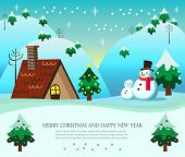 foto of christmas theme  - Christmas theme with snowman and snowboy with cottage and mountain background - JPG