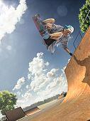 stock photo of skate board  - The old man is skating on skateboard in skate park - JPG