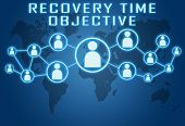 picture of objectives  - Recovery Time Objective concept on blue background with world map and social icons - JPG