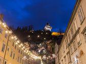 picture of pendulum clock  - Clock Tower of Graz Austria Night Scene  - JPG