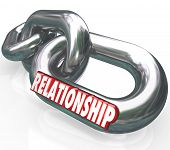 stock photo of partnership  - Relationship word in 3d letters on metal chain links to illustrate family relationship - JPG