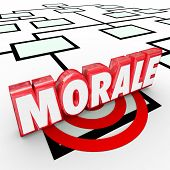 pic of moral  - Morale 3d Word on an organization chart to illustrate employee attitude - JPG