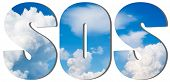 stock photo of sos  - SOS text filled with an image of blue sky with white big clouds - JPG