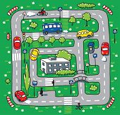 stock photo of grass area  - Children vector illustration of labyrinth of roads grass areas byilding and cars - JPG