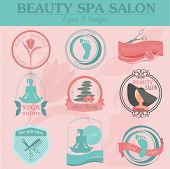 image of cosmetology  - Set of vintage hairstyle body care and cosmetology logos - JPG