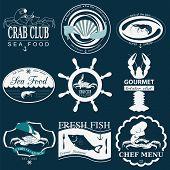 pic of food logo  - Set of vintage sea food logos - JPG