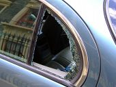 foto of car-window  - Car window smashed outside house - JPG