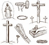 stock photo of crucifixion  - Paintings of the Crucifixion of Jesus Christ on a white background - JPG