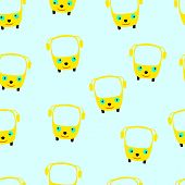 foto of driving school  - Seamless pattern with cartoonlike yellow school buses with stylized funny faces on light blue background - JPG