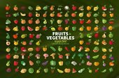 stock photo of melon  - Set of fruits and vegetables icons - JPG