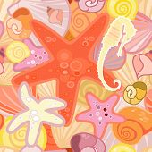 stock photo of crustaceans  - Vector illustration of a starfish background in crustacean - JPG