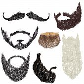 stock photo of goatee  - vector illustration beard with mustache in various forms - JPG