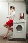 image of laundry  - portrait of pretty woman in laundry - JPG