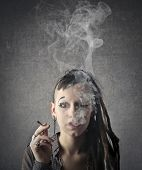 picture of teen smoking  - Young woman smoking  - JPG