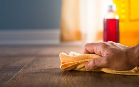 stock photo of disinfection  - Male hand applying wood care products and cleaners on hardwood floor surface - JPG
