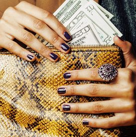 pic of pythons  - pretty fingers of african american woman holding money close up with purse - JPG