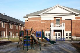 foto of playground school  - New school with a modern playground for the students - JPG