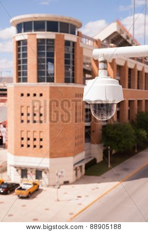 Video Security Camera Housings Mounted High On College Campus