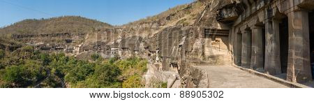 Panorama of Ajanta caves in India.