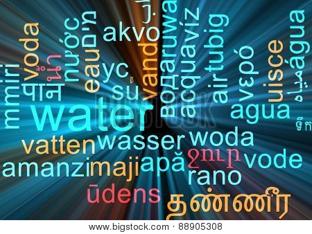 Background concept wordcloud multilanguage international many language illustration of water glowing light