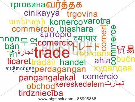 Background concept wordcloud multilanguage international many language illustration of trade