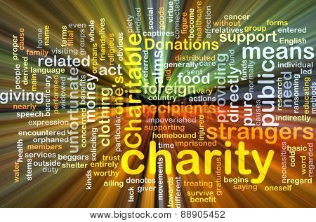 Background text pattern concept wordcloud illustration of charity giving glowing light
