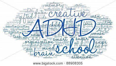 ADHD Cloud Shaped Word Cloud