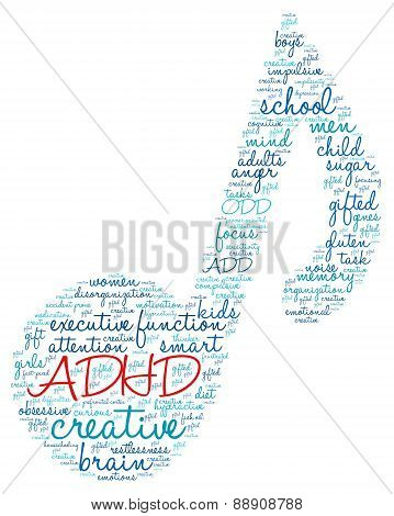 ADHD Musical Note Shaped Word Cloud