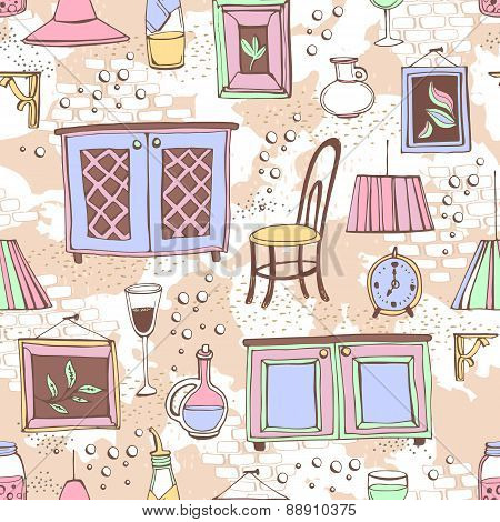 Seamless pattern of European cafe or restaurant.