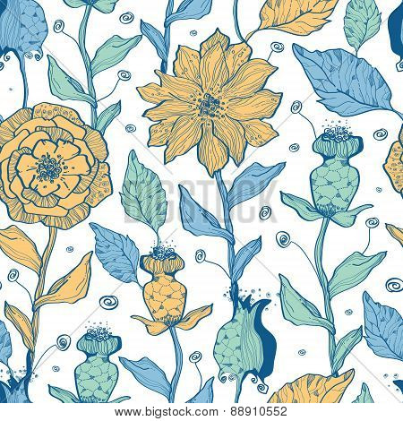 Vector whimsical flower garden seamless pattern background