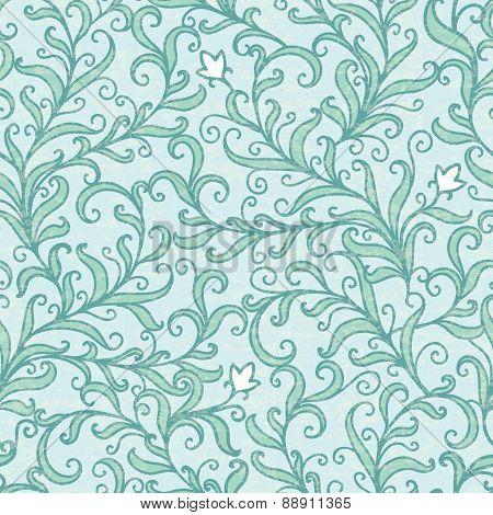 Vector green floral swirls seamless pattern backround