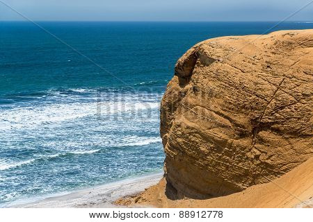 Dry Rock And Pacific Ocean