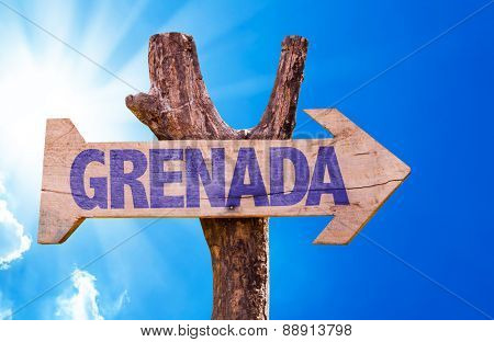 Grenada wooden sign with sky background