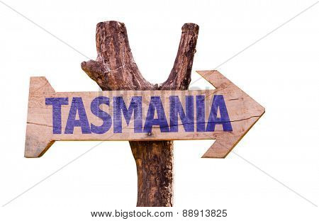 Tasmania wooden sign isolated on white background