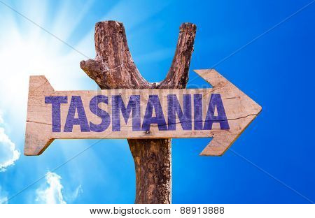 Tasmania wooden sign with sky background