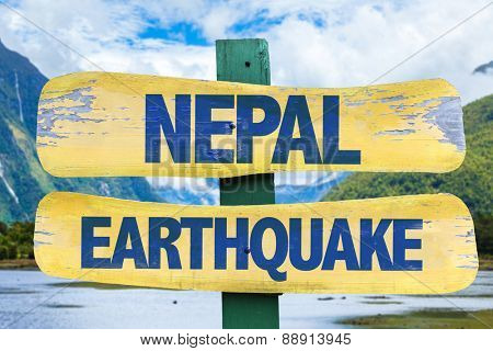 Nepal Earthquake sign with mountains background