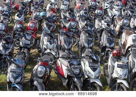 Motorbike Parking On The Street. Ubud, Indonesia