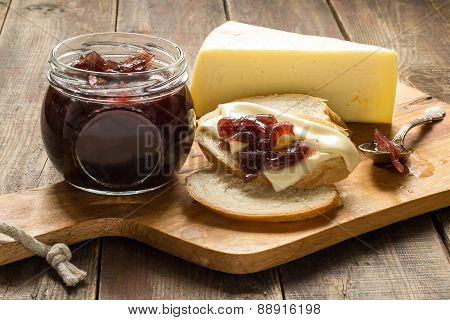 Onion Jam, White Bread And Cheese