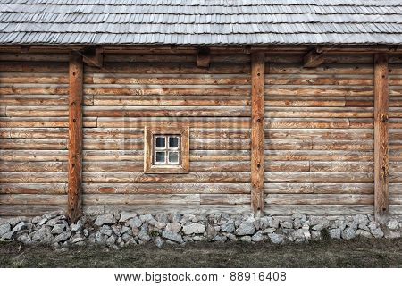 Old Window  On The Background Of Wooden Walls